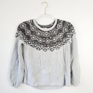 Justice Gray Knit Long Sleeve Gem Sweater